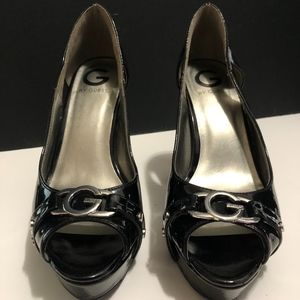 GUESS, Black and Silver Open-Toe Heels